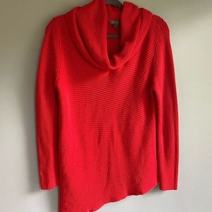 Vince Camuto Red Asymmetrical Poncho Sweater